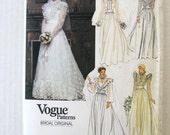 1980s Wedding Gown Pattern, Vogue 2864, Womens Floor Length Modest Evening Dress, Slip, Cummerbund, Train, Misses Size 10 Bust 32.5 UNCUT
