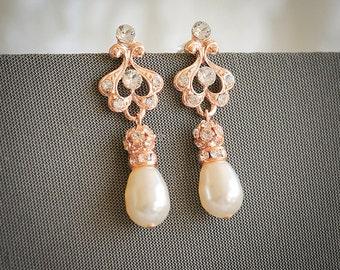 Rose Gold Wedding Earrings, Art Deco Bridal Earrings, Swarovski Pearl and Rhinestone Chandelier Earrings, Pearl Drop Dangle Earrings, AILEY