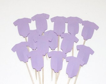 24 Lilac Onesie Cupcake Toppers, Party Picks