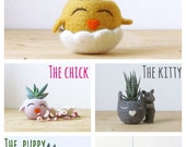 Happy Chick planter / Felt succulent pot / cactus vase / Animal planter / gift for her - Choose your color!