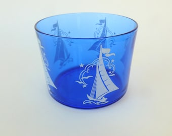 Hazel Atlas Fancy Ships Cobalt Blue Glass Ice Bucket with White Sailboats Sportsman Series