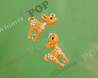 1 - 3D Gold Tone Whimsical Forest Brown Crystal Rhinestone Deer Doe Charm, Deer Charm, 23mm x 50mm (5-3G)