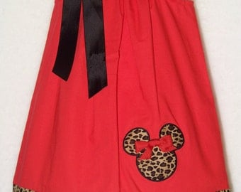 Minnie Mouse Pillowcase Dress / Leopard / Cheetah / Disney Vacation / Newborn / Infant / Baby / Girl / Toddler / Custom Boutique Clothing