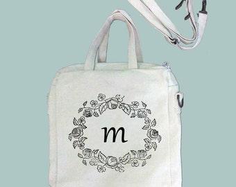 Floral Wreath Monogram, ANY COLOR Print, Typography Canvas Purse, Tablet Bag/Carrier, Cosmetic Case -- Removable, Adjustable shoulder strap