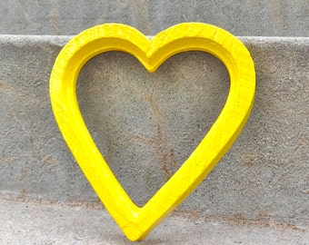Sunny Yellow Heart Picture Frame With Glass and Backing Bright