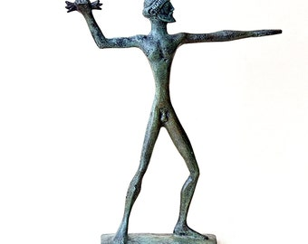Zeus Jupiter Olympian God with Thunderbolt, Bronze Sculpture, Metal Art Sculpture, Museum Quality Art, Greek Mythology, King of the Gods