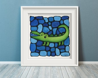 Alligator Print - Gator Nursery Artwork - Baby Boy Print - Zoo Themed Nursery - Crocodile Art Print  - 8 x 10 inch - by Artist Kathy Lycka