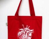 "Anatomical Heart Tote Bag ""Strawberry Heart"" Screenprint, Eco Friendly Grocery Bag, Organic & Fair Trade, Long Handles and Gusset"