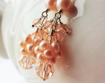 Peach Earrings Dangle Earrings Swarovski Crystal Freshwater Pearl Peach Bridesmaid Earrings Wedding Jewelry Sterling Silver Jewelry By SS