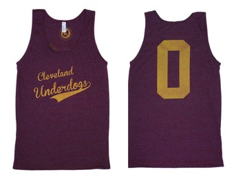 American Apparel SUPER SOFT Vintage Feel Unisex Tri-Blend Tank - Cleveland Underdogs in Yellow on Cranberry