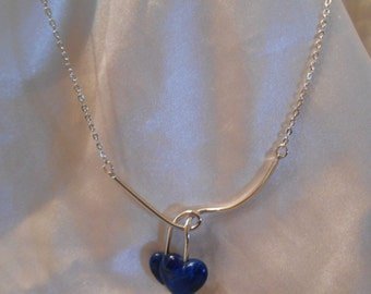 Sarah Coventry Duo-Heart Blue Necklace Set in Silver Tone