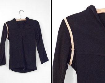 SAILOR Navy Shirt 1940s Wool Size XS Long Sleeve Nautical Black Bib Collar