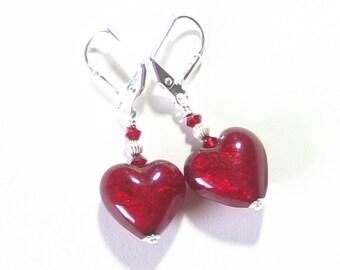 Murano Glass Red Heart Silver Earrings, Venetian Jewelry, Italian Jewelry, Leverback Earrings, Clip Earrings, Lampwork Glass, Post Earrings