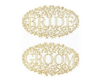 Bride and Groom Wood Veneer Floral Chair Signs