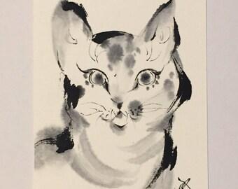 Japanese art, cat art, ink art, cat illustration, cat painting, whimsical cat art, mini art, pet lover, Kawaii, etegami, mini, love animal
