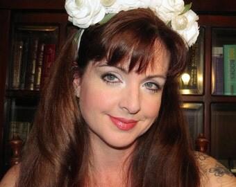 MEXICAN SUGAR ROSES White Bridal Crown Style Headdress Hair Adornment