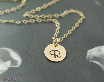 Simple jewelry, bridesmaids gift, gold necklace, stamped jewelry, personalized, gold filled
