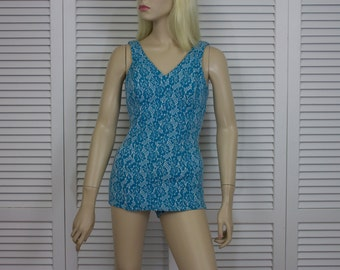 Vintage 1960s Swimsuit Turquoise Knit