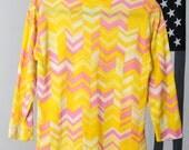 Yellow and Pink Zig-Zag Pattern Mod Shirt