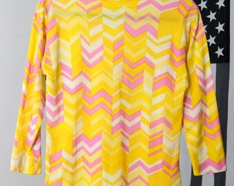 Yellow and Pink Zig-Zag Pattern Mod Shirt