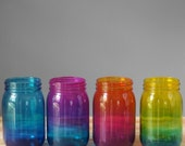 Bohemian Home Decor, Set of Four Ombre Tinted Mason Jars, Hand Painted Glass Tints in Brilliant Colors, Kitchen Storage Jars, Organization