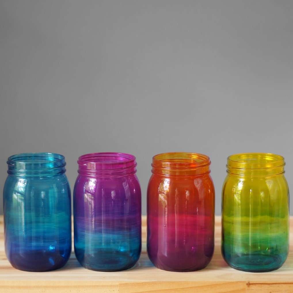 Uncategorized Tinted Jars bohemian home decor set of four ombre tinted mason jars hand