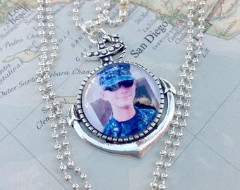 Personalized US Navy sailor photo under glass anchor pendant necklace by Son and Sea FREE US shipping