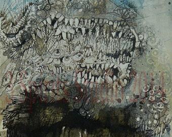 "Original Mixed Media Contemporary abstract painting- ""Grumble"""