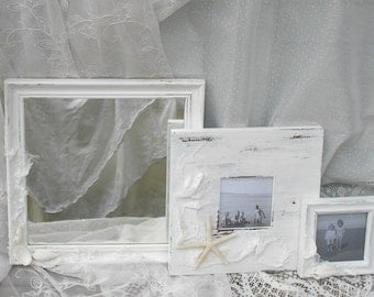 2 Frames and Mirror Set White Beach Cottage Shabby Chic  with Glass and Backings Costal Decor