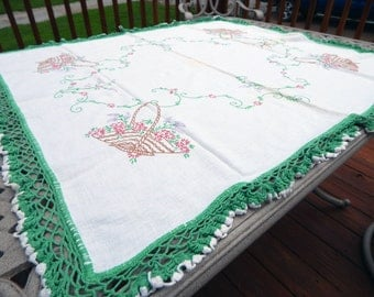 Flower Basket Embroidered Square Tablecloth