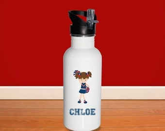 Cheerleader Kids Water Bottle -Cheerleader Girl with Name, Child Personalized Stainless Steel Bottle BPA Free Back to School