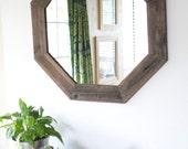 29x29 Modern Octagon Mirror- Reclaimed Wood - Modern Home Decor - Framed Mirror - Wood Mirror - Hurd and Honey - Home Decor
