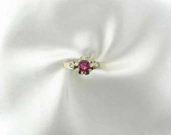 Pink Tourmaline and Diamond Ring, Alternative or Unique Engagement/Promise Ring, Solitaire, Hallmark, Makers Mark