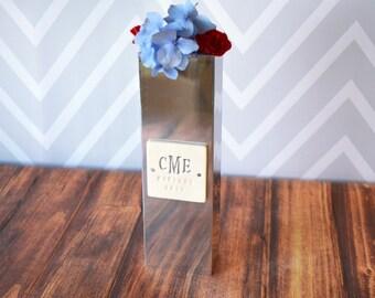 PERSONALIZED Wedding Gift - Polished Aluminum Rectangle Vase