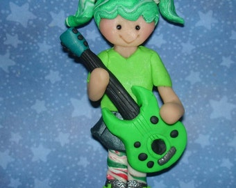 Guitarist Christmas Ornament Rock Band Handcrafted Polymer Clay Cake Topper Girl Rocker Guitar Rock Roll Star Music Instrument Birthday