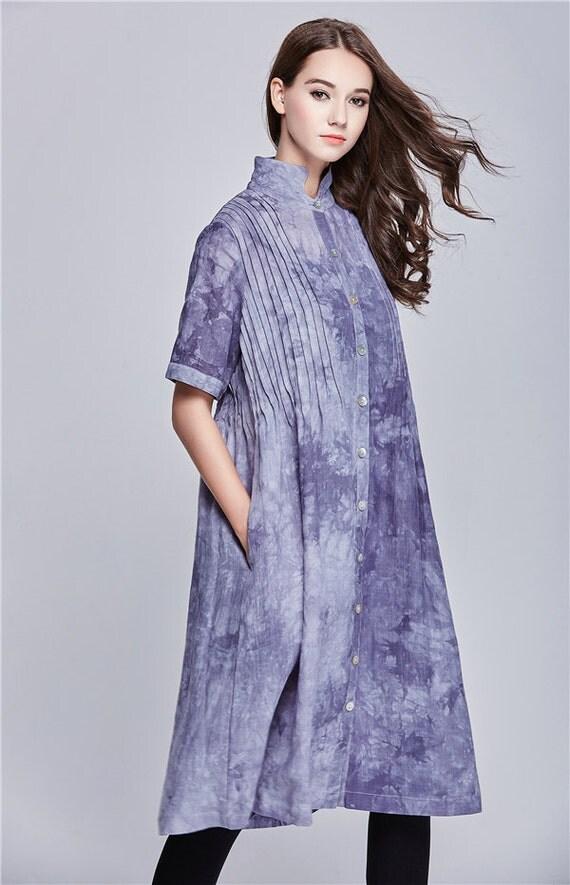 Linen Dress - Linen Long Trench Coat Dress in Grey, Loose fitting Shirt Dress, Tunic Dress,