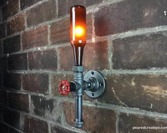 Industrial Sconce - Industrial Style Fixture - Beer Bottle Lamp - Wall Lighting - Bar Decor