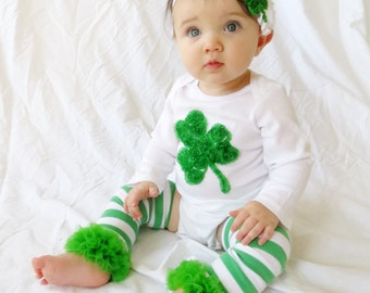 Baby St Patrick's Day Outfit,  Green Shamrock Onesie, Green Shamrock Headband, Matching Ruffle Leg Warmers, Toddler St Patricks Day Outfit,