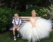 Ivory Flower Girl Dress, White Flower Girl Dress, Long Tutu Dress