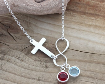 Sterling silver Infinity Cross Necklace, Bridal shower Gift initial or birthstones. Personalized Sideways Cross, Custom Mommy Jewelry