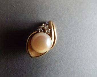 single stud 14k gold diamond real pearl  stud earring multiple piercings