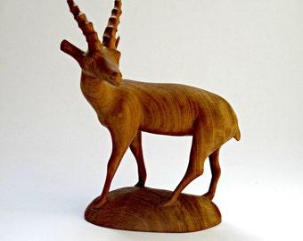 Mid-Century Teak Antelope Deer Figurine