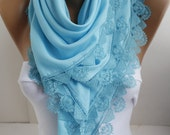 Baby Blue Shawl Scarf Cotton Scarf Lace Shawl Scarf Square Summer Scarf Bridal Wedding Fashion Women Accessories