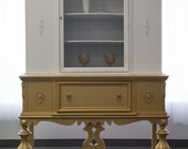 Gold Dipped and Topped China Cabinet / Hutch Antique