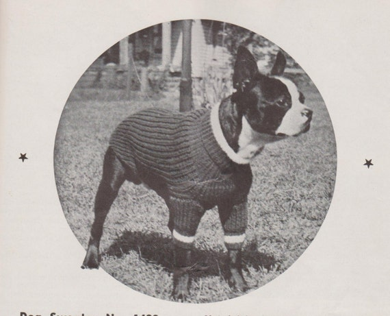 Knitting Pattern For Medium Sized Dog : Items similar to Knitted Dog Sweater- Vintage Knitting Pattern - 1930s O...