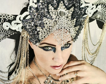 Art Deco,Futuristic,Burning man,Festival,Carnival,Crown,Accessory,Art Deco,Dance,high fashion,Showgirl,headpiece,headdress,hat,crown,
