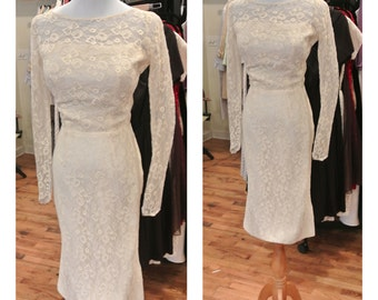 1960s White Lace Wedding Dress Vintage Cream Lace Midi Wedding Dress Long Sleeve Fitted Knee Length Wiggle Dress Wedding Dress