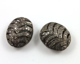 Diamond Flat Oval Pave Bead , 1 Piece 18x14 mm , Designer Pave Diamond, Pave Diamond Jewelry,  Sterling Silver Pave Bead., (DF/BD66)