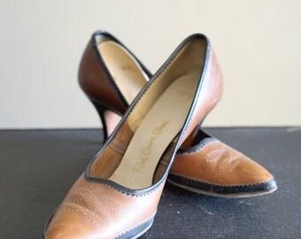 Vintage 7 Red Cross Shoes Brown Pumps Heels
