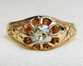 Hold for B, 1st payment, Diamond Engagement Ring .85 Ct 14K Rose Gold Cushion Cut Mine Cut Diamond Yellow Diamond Ring .80 Ct Cushion 14K